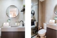 Vistas lavabo - porta em espelho para esconder o box.