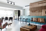 Depois - Vista geral salas e cozinha integradas.