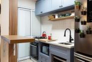 Vista geral - Cozinha com bancada aberta